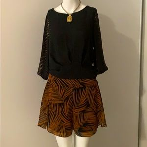 BCBGMAXAZRIA blouse with gold beads